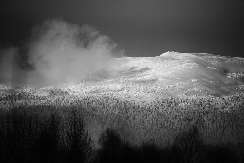 Top of the mountain peak. View of the mountain peak in winter stock photos