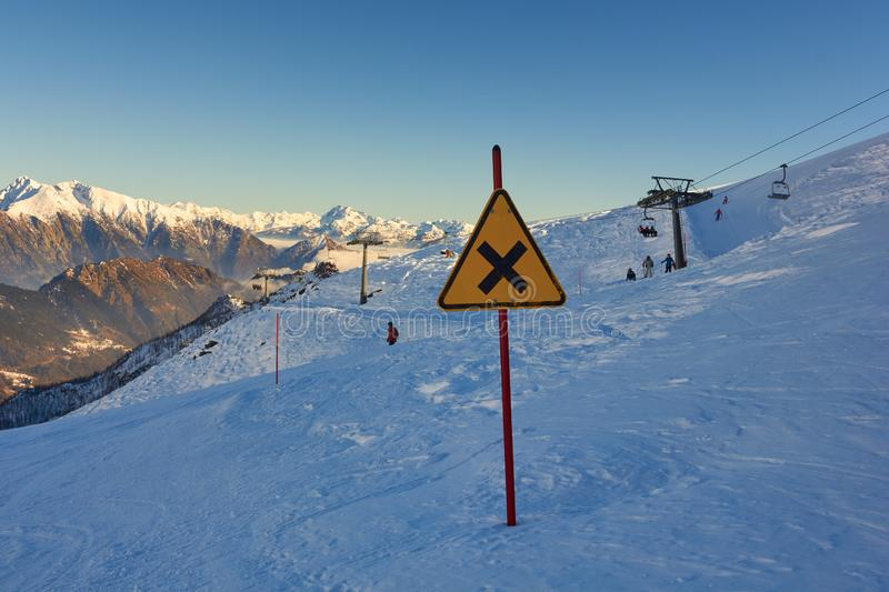 In the top of the mountain with sign in Italy - winter season - adventure snow - Aosta - Champorcher stock image