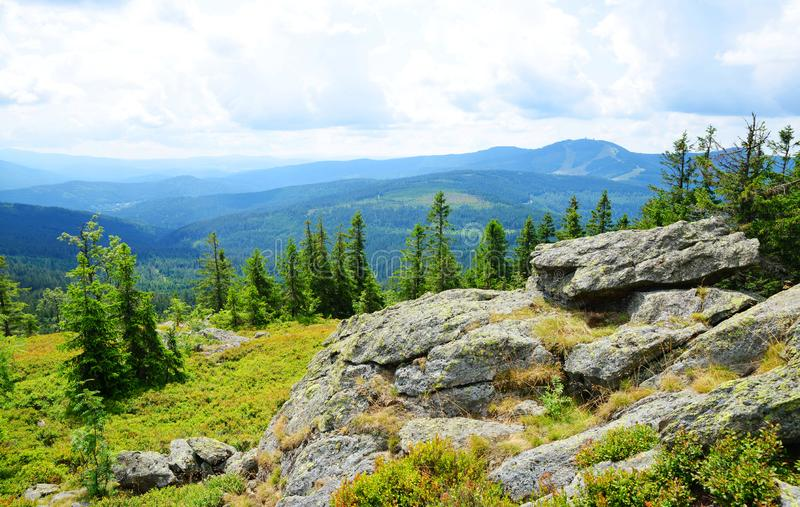 Top of mountain Svaroh in the national park Sumava, Czech Republic. View on the mount Grosser Arber in Bayerische Wald royalty free stock photos
