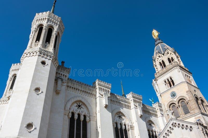 Top of Notre Dame de Fourviere in Lyon. Rhone Alps, France stock photos