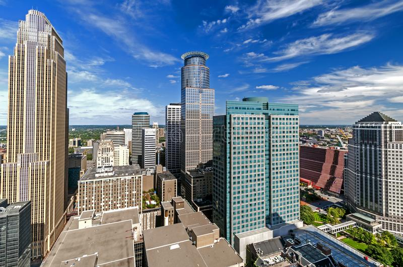 Overlooking buildings downtown Minneapolis, Minnesota. On top of the observation tower on the Foshay building many downtown buildings are seen in Minneapolis royalty free stock photo