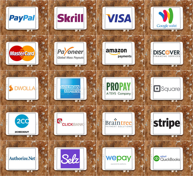 Top online payment services and systems logos and vector. Collection of logos and icons of most popular online payment services and money transfer method on