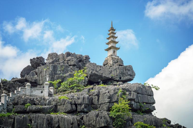 Top pagoda of Hang Mua temple, Ninh Binh Vietnam. Top pagoda of Hang Mua temple, Ninh Binh, Vietnam royalty free stock photography