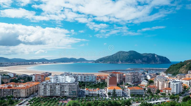 Top panorama Laredo city in Cantabria, Spain - the famous place stock images