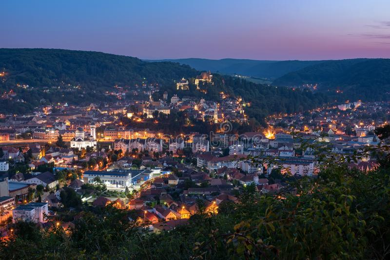 Top panoramic view of Sighisoara town, Transylvania, Romania at night stock image