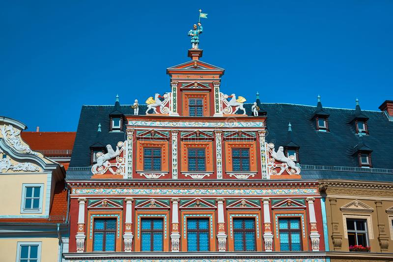Top part of ornate historical timbered house facade in Erfurt stock image