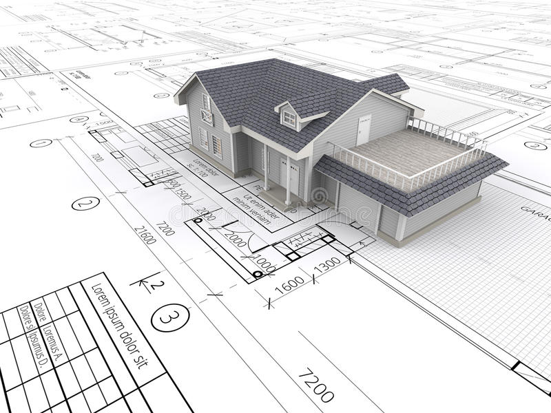 House and Blueprints. stock photo