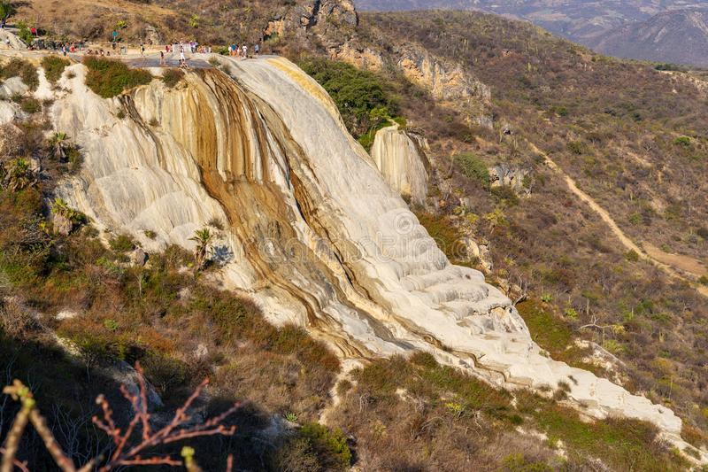 On top of petrified waterfalls at Hierve el Agua. At 1800 metres high, curious landscape made by salt water action on stone at Hierve el Agua, Mexico stock photo