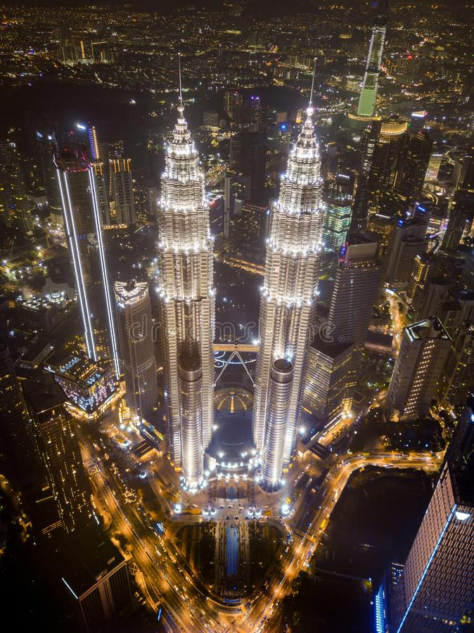Top of Petronas Twin Towers. Aerial view of Kuala Lumpur Downtown, Malaysia. Financial district and business centers in smart stock images