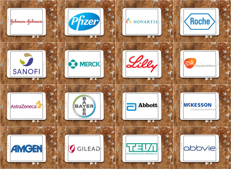 Top pharmaceutical companies logos and brands vector illustration