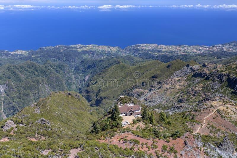 On top of pico ruivo mountain, Madeira stock photo