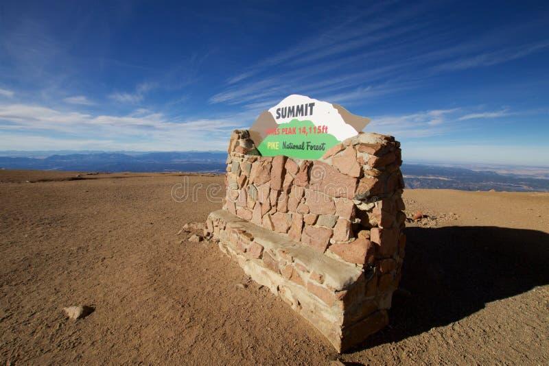 On top of Pikes Peak stock photo