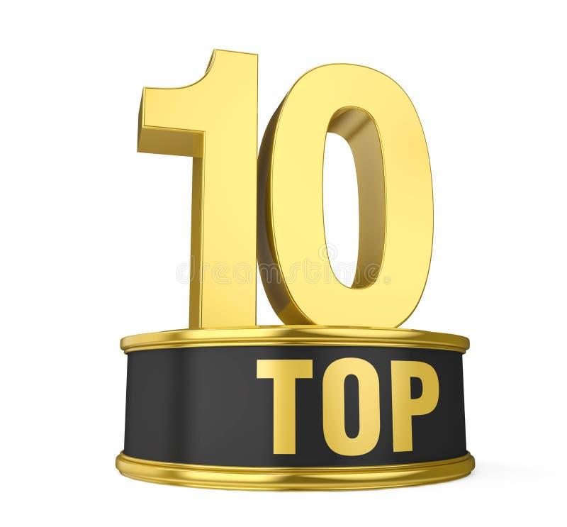 Top 10 on Podium Isolated royalty free illustration