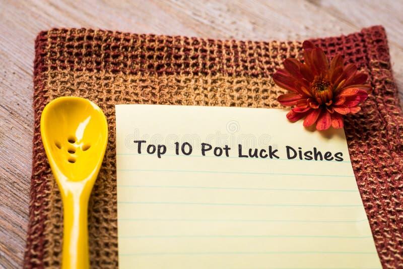 Top 10 Pot Luck Ideas concept stock image