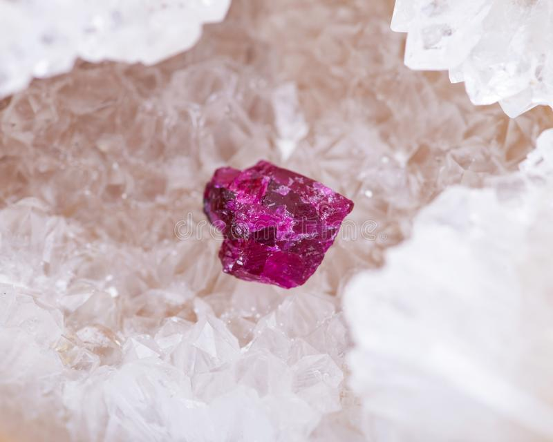 Top quality A grade small rough RUBY crystals from Tanzania on crystalline druzy center of Polished Blue Lace Agate slab. From Brazil. RED CORUNDUM royalty free stock images