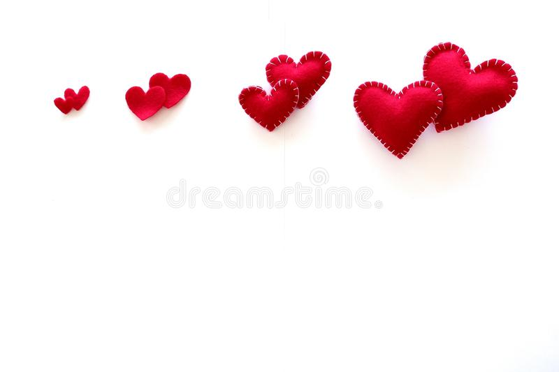 Top red hearts on white background. royalty free stock image
