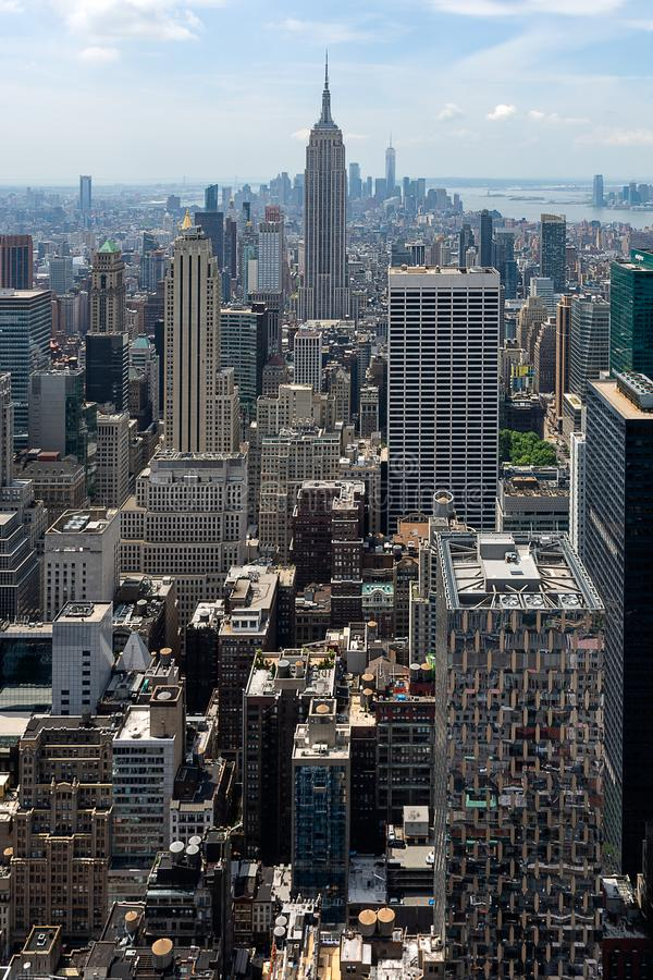 New York - South Manhattan Panorama from Top of the Rock royalty free stock images