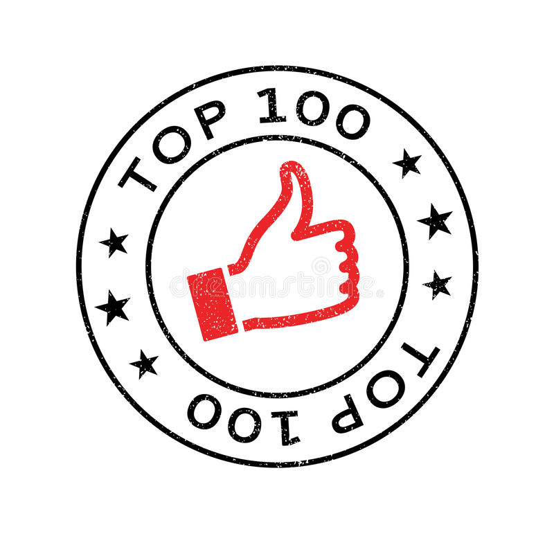 Top 100 rubber stamp. Grunge design with dust scratches. Effects can be easily removed for a clean, crisp look. Color is easily changed stock photography