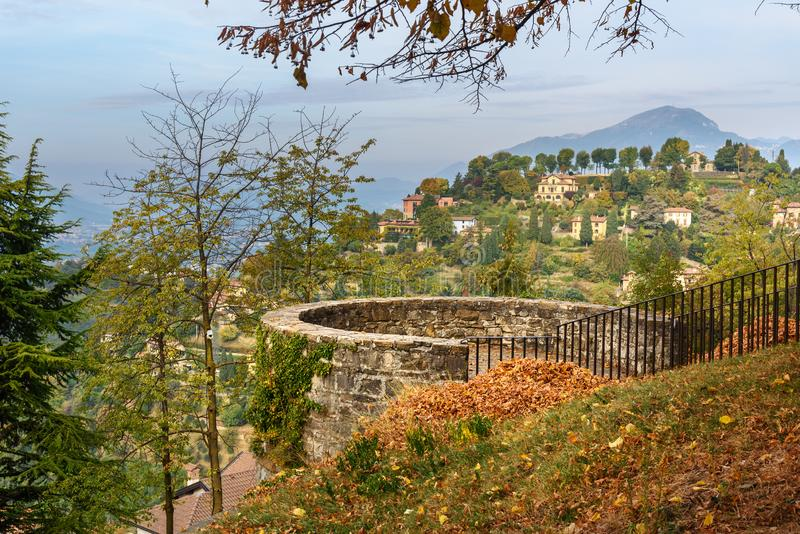 On top of San Vigilio castle. Bergamo. Italy. On top of San Vigilio castle in Bergamo. Italy royalty free stock photography