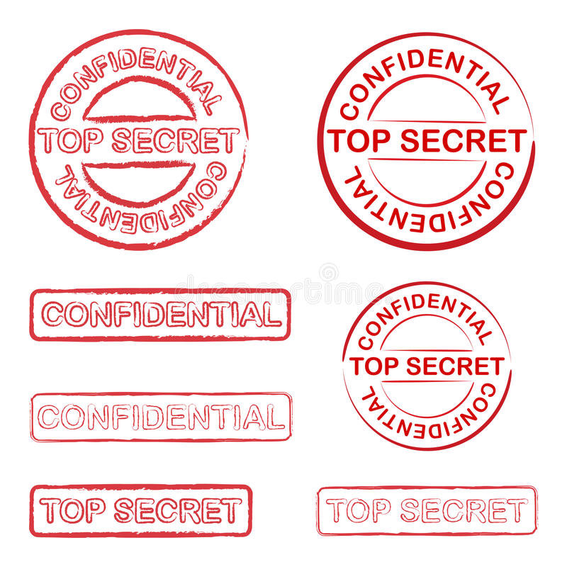 Top secret. And confidential stamp stock illustration