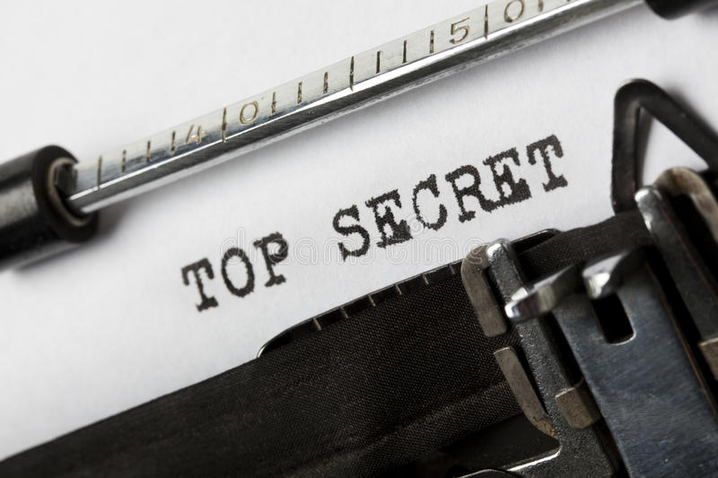 Top secret. The phrase Top Secret written with old typewriter