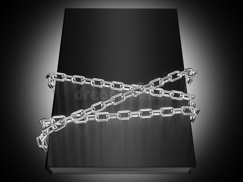 Top Secret. The book cover wrapped metal chain stock illustration