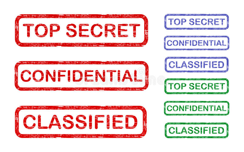 Top secret. Confidential and classified stamps of three colors