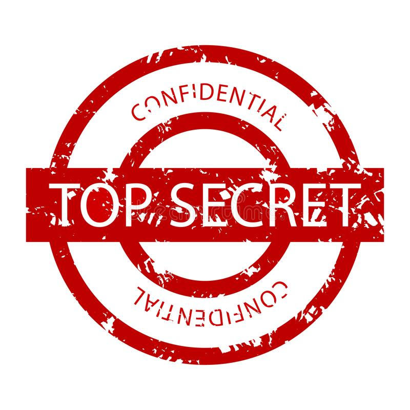 Top secret confidential rubber stamp stock illustration