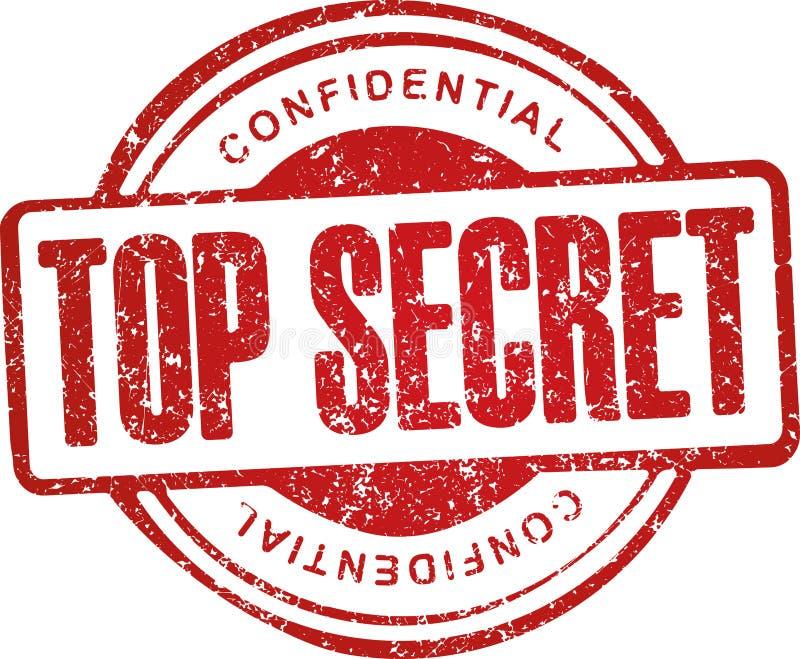 Top-secret, confidenziale Timbro di gomma di rosso di stile di lerciume royalty illustrazione gratis