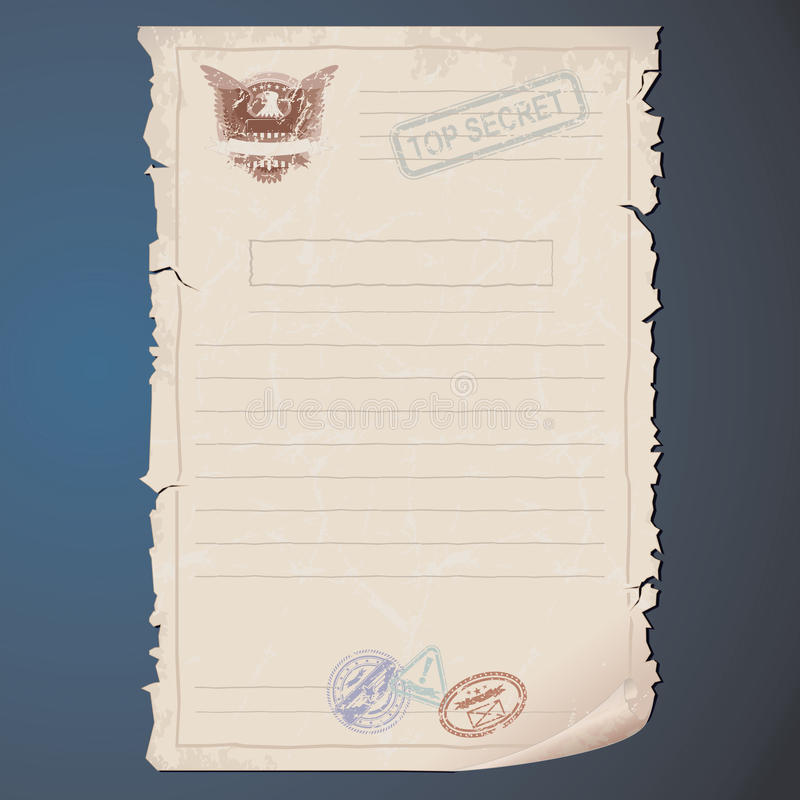 Download Top Secret Document stock vector. Image of priority, page - 26397792