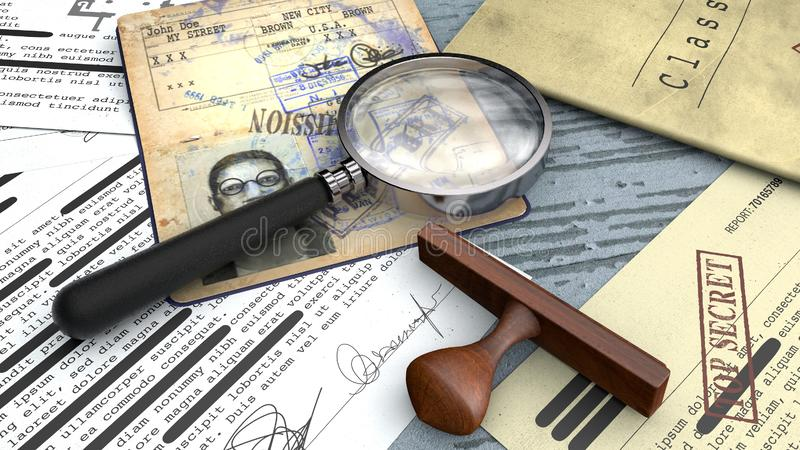 Top secret document, declassified, confidential information, secret text. Passport, secret agent. Rubber stamp and magnifying stock photography