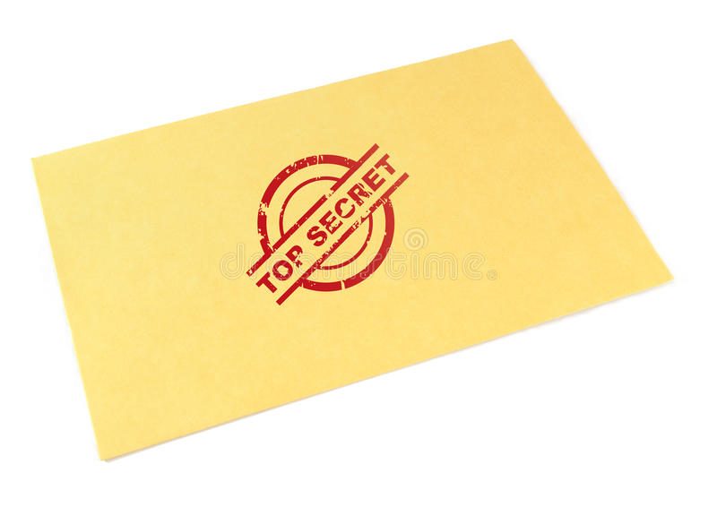 Top secret envelope. Yellow envelope with top secret stamp, isolated on white background royalty free stock photo
