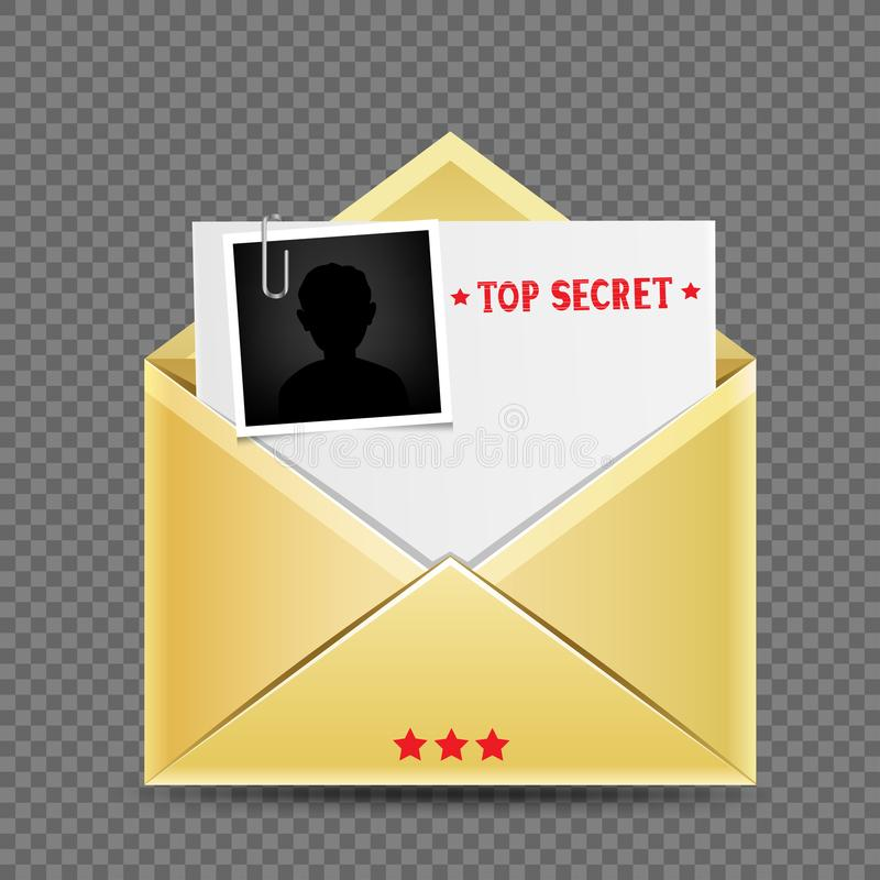 Top secret envelopet letter template. The secret open envelopet letter template correspondence with stamp photo snapshot and shadow on transparent background stock illustration