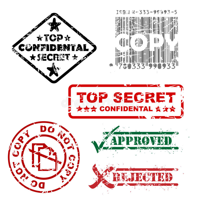 Top secret and other stamps royalty free illustration