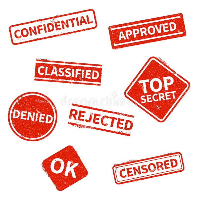Top secret, rejected, approved, classified, confidential, denied and censored red grunge business stamps isolated on royalty free illustration