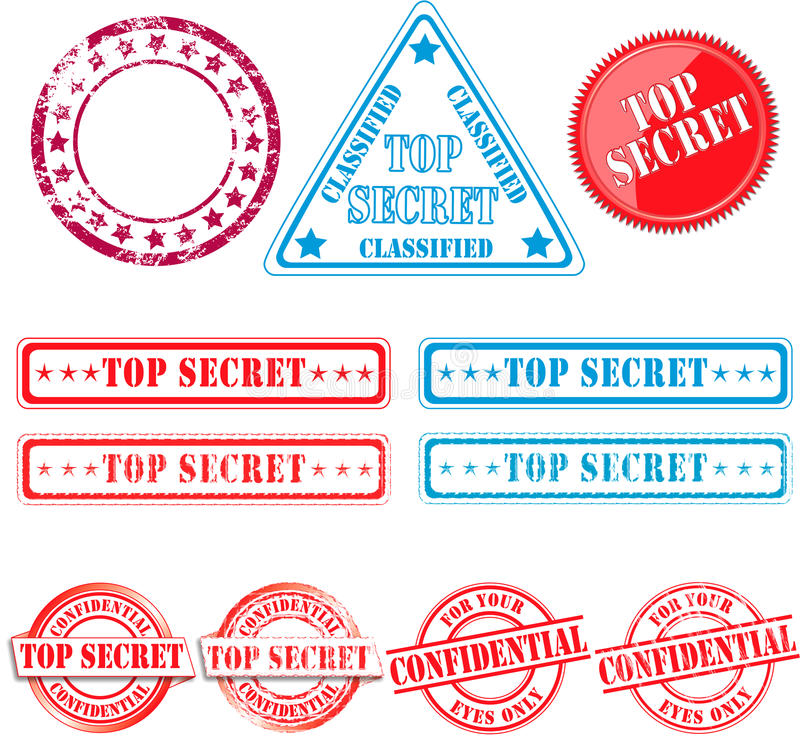 Stamps. Top secret stamps and seals. With different effects used like grunge vector illustration