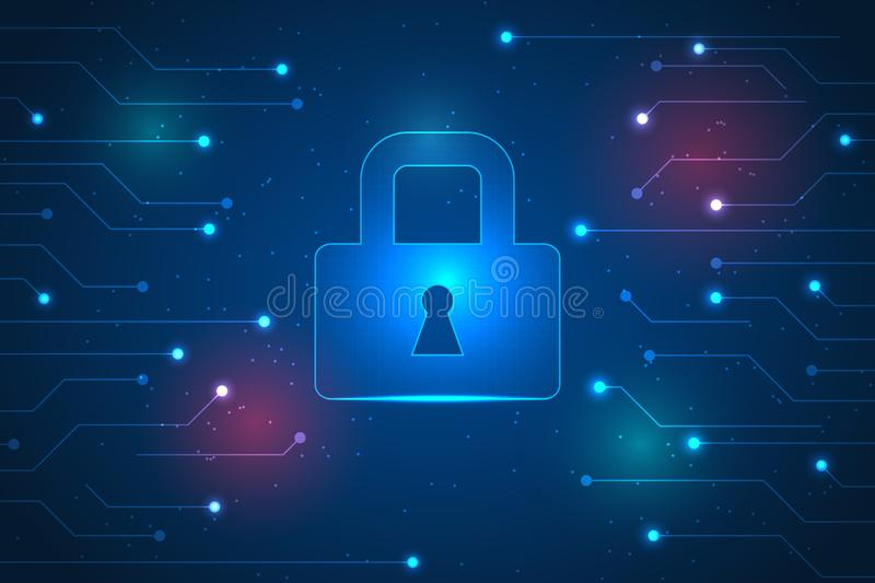 Secure technology background. top security and protection from cyberattack. Top security and protection from cyberattack. digital technology abstract background royalty free illustration