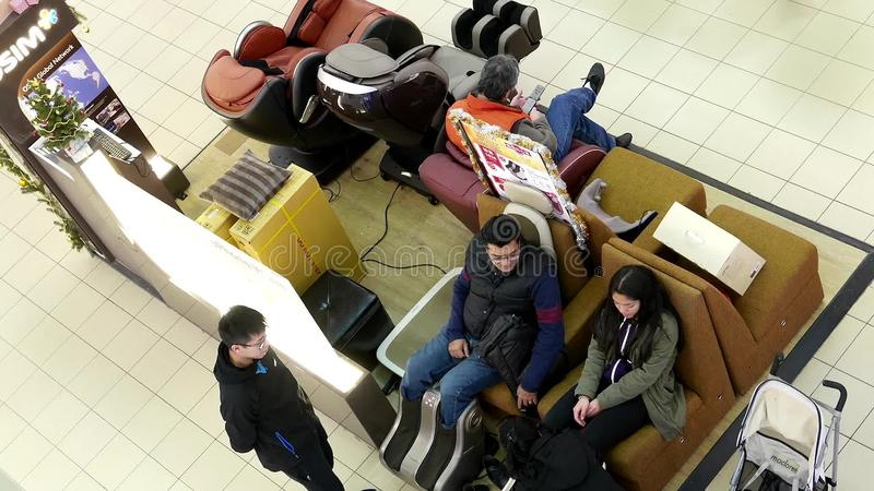 massage chair in mall. top shot of people selling electric massage chair and equipment booth stock footage - video: 65449262 in mall