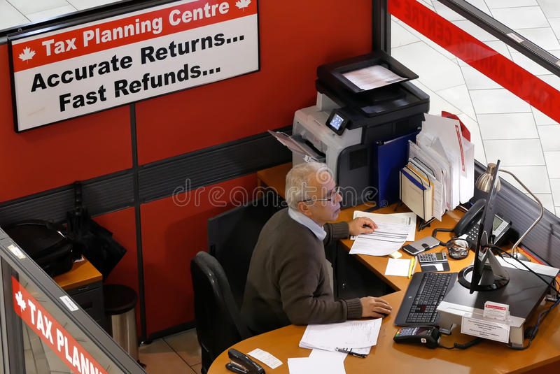 Top shot of tax planning centre inside shopping mall. In Coquitlam BC Canada stock images