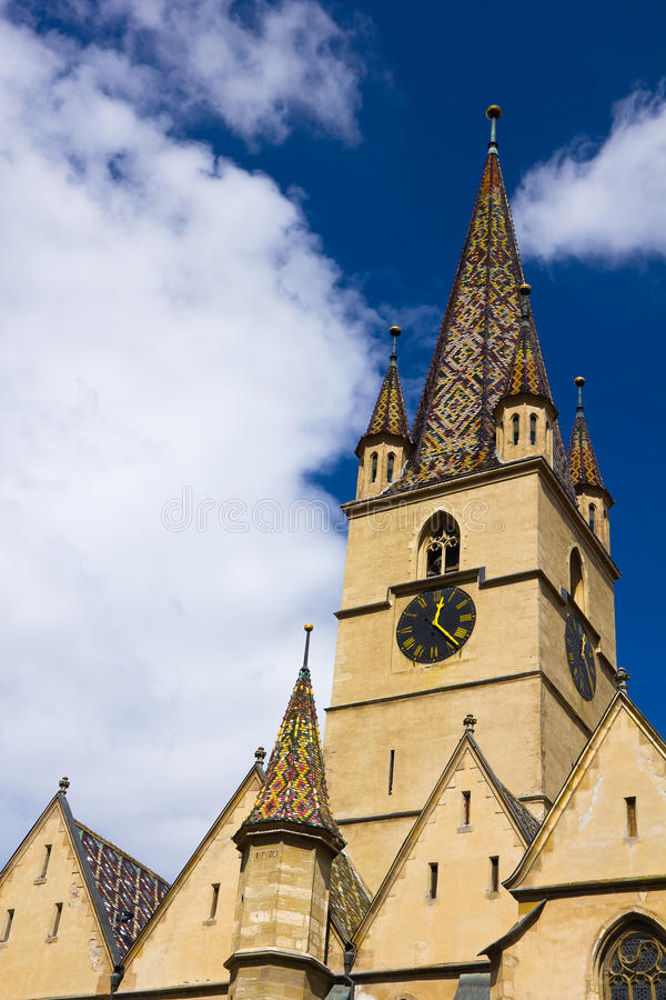 Top of the Sibiu Evangelical Cathedral stock images