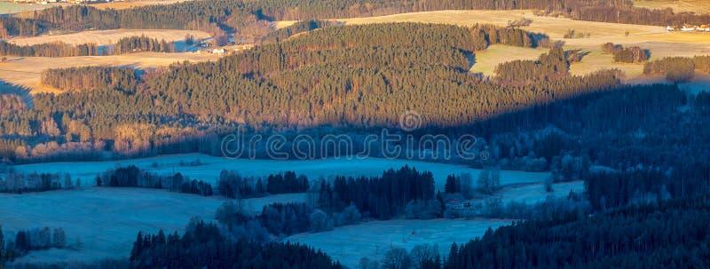 Top-Sicht auf die Landschaft mit Wäldern und Wiesen lizenzfreies stockbild