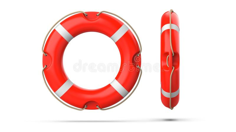 Top and side view of lifebuoy, isolated on a white background with shadow. 3d rendering set of two red life ring buoy. vector illustration