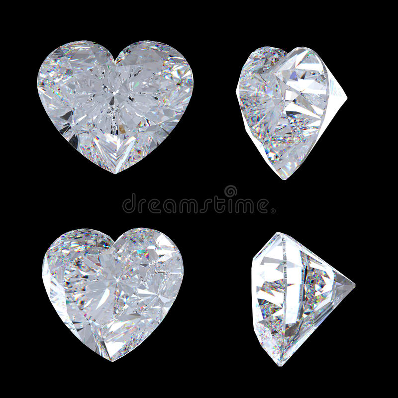Download Top And Side Views Of Heart Shaped Diamond Stock Illustration - Image: 14700031
