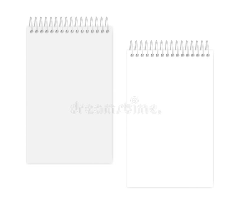 Wire spiral junior legal size empty notebook - page and cover. Top spiral empty white notebook, vector mock up. Wire bound blank notepad, mockup. Junior legal stock illustration
