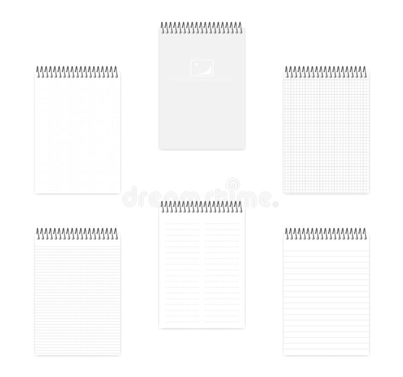 A5 top spiral notebook with various ruled paper, vector mock up. A5 top spiral notebook set, realistic vector mockup. Wire bound notepad with various ruled paper vector illustration