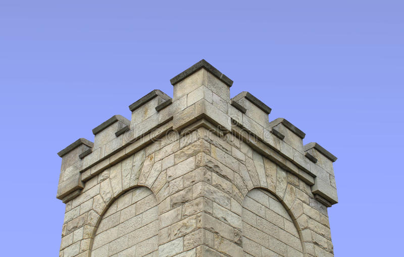 :  Top of a stone fortress tower isolated