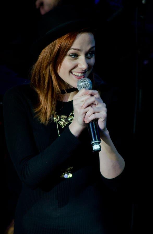 Top8 Superstar - Emma Drobná (winner). Emma Drobna - concert top8 superstar in sasazu,Prague,2016.01.23 stock photos