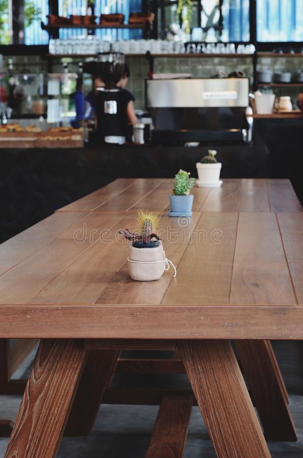 Top of table with Bar Cafe Restaurant blurred background royalty free stock images