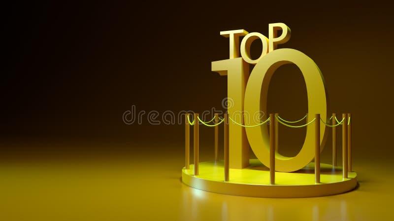Top Ten em uma ilustração da plataforma 3D ilustração do vetor