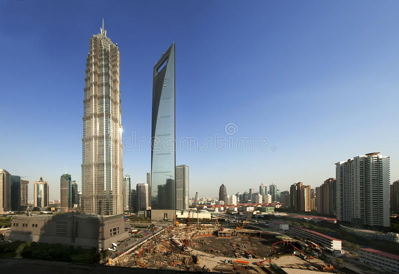 Top three high-rise buildings in Shanghai, China. Shanghai Lujiazui Finance and Trade Zone in China, there are three high-rise high。Screen, Jinmao Tower and royalty free stock photography
